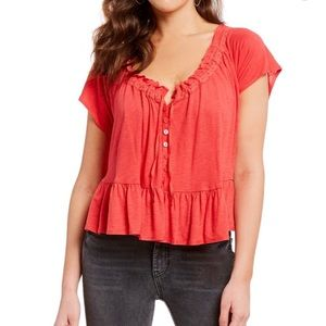 Free People Red Women's Charlie Tee Size M